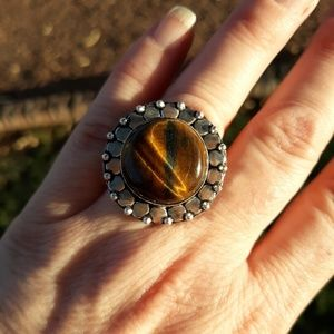 New Tiger Eye Silver Ring. Size 8.75